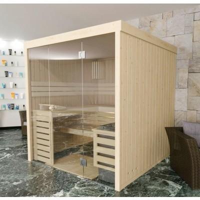 Foto van Azalp massieve sauna Rio Glass 195x151 cm, 39 mm