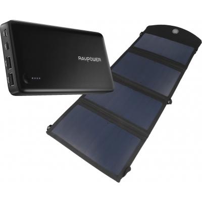 Foto van RAVPower Power Bank 26800mAh met USB Type-C + Brofish 24W Solar Panel